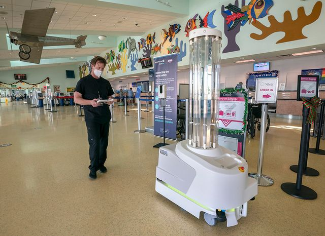 A coronavirus-fighting robot is to begin patrolling Key West International Airport's interior spaces after hours. Image: Rob O'Neal