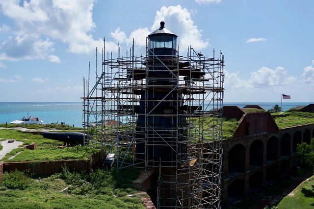 Dry Tortugas National Park, located about 70 miles off Key West, has begun a full restoration of its 144-year-old iron-plated Tortugas Harbor Lighthouse on historic Fort Jefferson.
