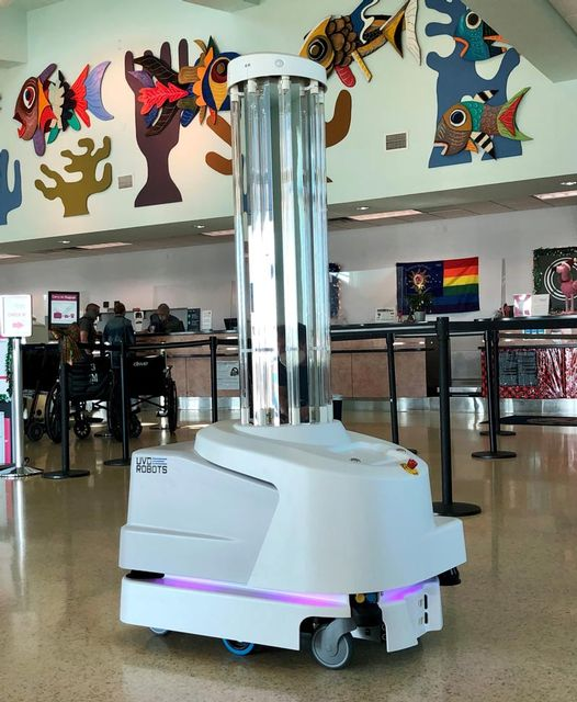 A coronavirus-fighting robot is now patrolling Key West International Airport's interior spaces after hours.