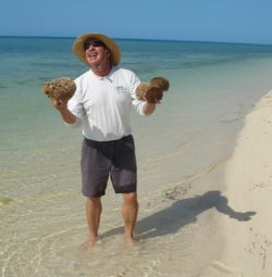 Bill beachcombing in the Marquesas.