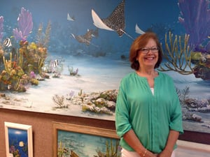 BJ happily creates marine scenes for community events, including the Coral Restoration Foundation annual gala, pictured here.