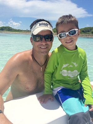 Ben with oldest son Kye for a day on the water.