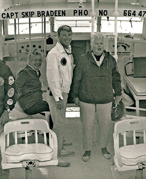 "Bradeen, in 1966, with his first customers as captain of his first charterboat, the ""Always."" Photo courtesy of Skip Bradeen."