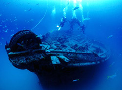 Clara Taylor photographed scuba divers above the Cayman Salvager wreck off Key West. (www.clarataylor.com)