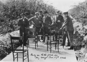 Eight of the 10 dignitaries on the Key Largo to Key West Dec. 17, 1906, inspection trip are pictured. Flagler is in center, wearing a top hat.
