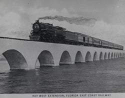 For more than two decades after the railroad's 1912 completion, it carried passengers to the Keys and Key West, affording them a breathtaking sense of steaming across the open ocean. Photo courtesy of Monroe County Public Library