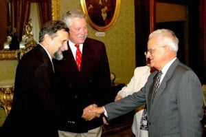 Ian Koblick (left) with Aurora Trust business partner Craig Mullen and Malta's president (2004-2009), Dr. Edward Fenech Adami.