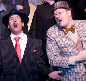 "Schaefer (left) and Eric Rolfe perform in ""Guys and Dolls."""