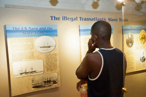 A display inside the Mel Fisher Maritime Museum chronicles a timeline of historical events.