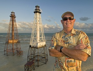 Larry Herlth's lighthouse replicas, such as Alligator and Sombrero lights, inspire others to learn more about the Keys' historic beacons. Images by Andy Newman/Florida Keys News Bureau
