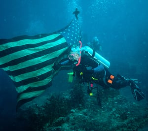 Ever the photographer, Rob shot this pic of wife Lynn, now an avid wreck diver herself, at the Duane off Key Largo.