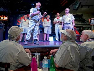 "Contestant Jim Green implores the judges to select him as the 2015 ""Papa"" Hemingway Look-Alike Contest winner."