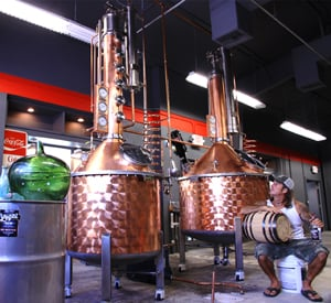 Key West First Legal Rum Distillery is housed in an old saloon turned Coca-Cola bottling factory.