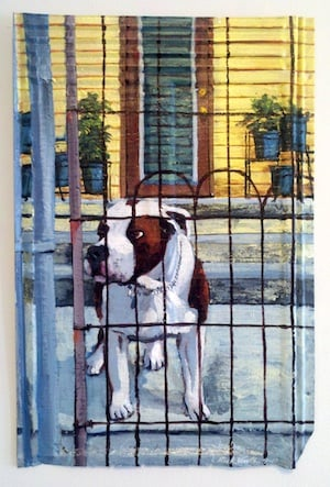 Worth's paintings are upbeat, whimsical representations of Key West's culture and diversity, even reminiscent of Worth's late canine companions. Images: Lucky Street Gallery