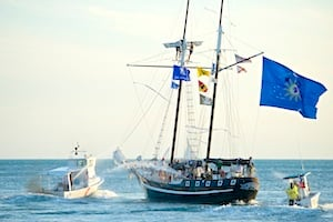 A good-natured sea battle featuring historic tall ships is also featured.