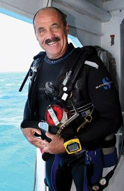 Captain Slate has become a legend in the Florida Keys and a well-known celebrity in both diving and non-diving circles; he has been cultivating marine relationships for 30 years. (Photo by Frazier Nevins)