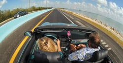 "Motorists drive on the ""18-Mile Stretch"" connecting the Florida mainland to the Keys."