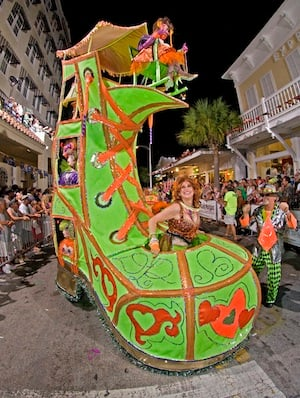 The D'Antonio's flamboyant constructions grew into crosses between gigantic costumes and small parade floats, such as this Old Woman in a Shoe. Image: Andy Newman