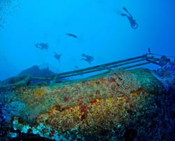 The Vandenberg is the latest vessel to become part of the Shipwreck Heritage Trail. Sunk on May 27, 2009, in 140 feet of water about seven miles south of Key West. Photo by Stephen Frink