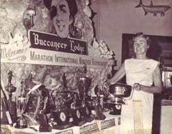 Marge Street, pictured here with the trophy table in 1967 at the Buccaneer Lodge, today site of Tranquility Bay Resort, is one of the MIBT founders.