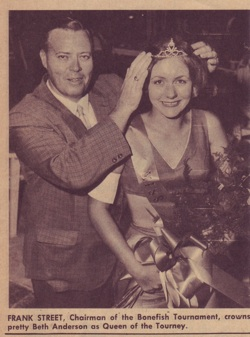 "Frank Street places a crown on Beth Anderson, one of the early ""Miss Bonefish"" queens, circa 1968."