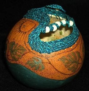 D'Antonio's intriguing gourds — colorfully painted, wood-burned and adorned with elements that range from woven seagrass to whimsical feathers — can be found at Big Pine's Artists in Paradise Gallery, the Key West Art Center and Key West's Frangipani Gallery.