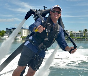 Shattuck has some fun with the Keys' latest craze, the JetLev jet pack experience.