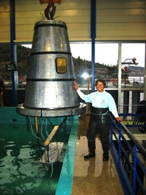 Bauer stands beside a diving bell after a dive in Norway in 2005.